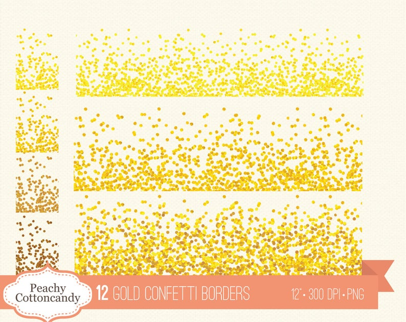 BUY 2 GET 1 FREE 12 Gold Confetti Borders Clipart.