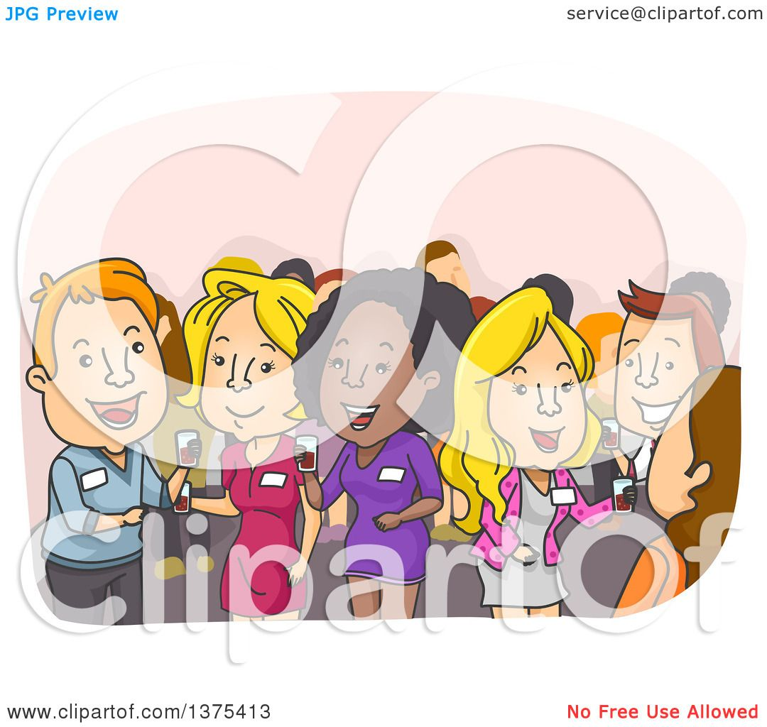 Clipart of People Socializing at a Convention.