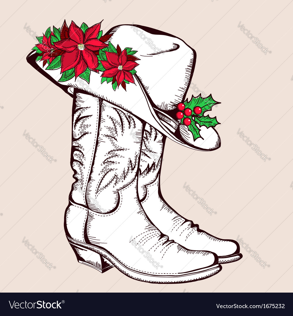 Cowboy Christmas boots and hat graphic.