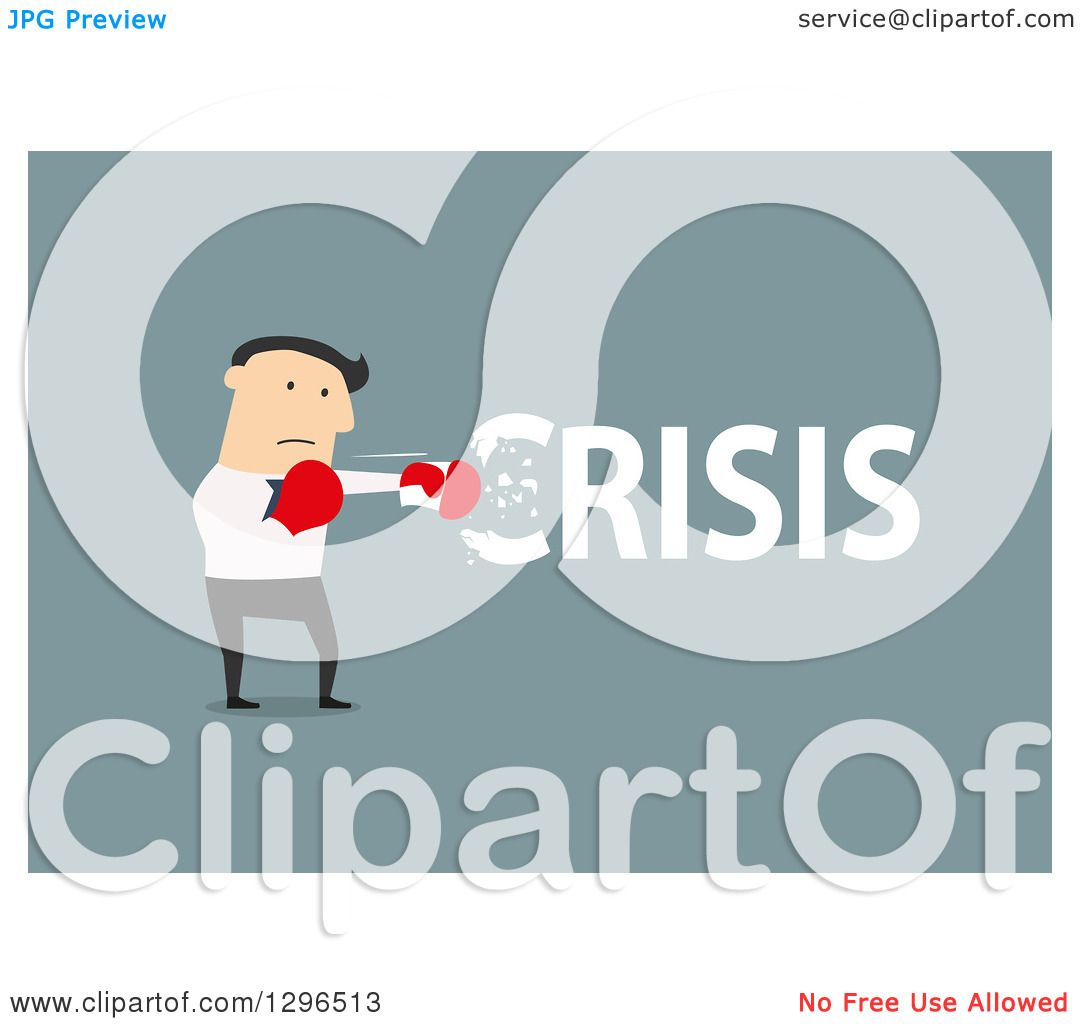 Clipart of a Flat Modern White Businessman Punching out a Crisis.