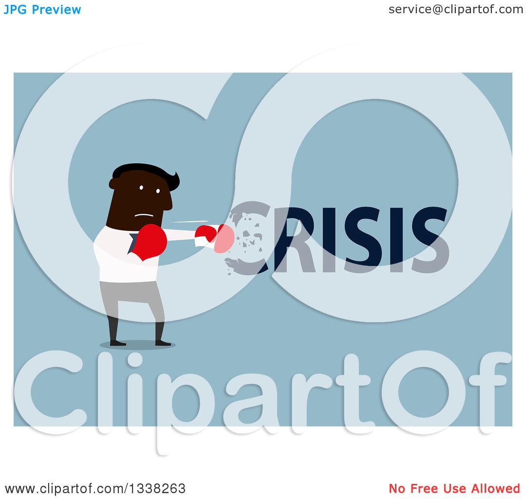 Clipart of a Flat Design Black Businessman Punching out a Crisis.
