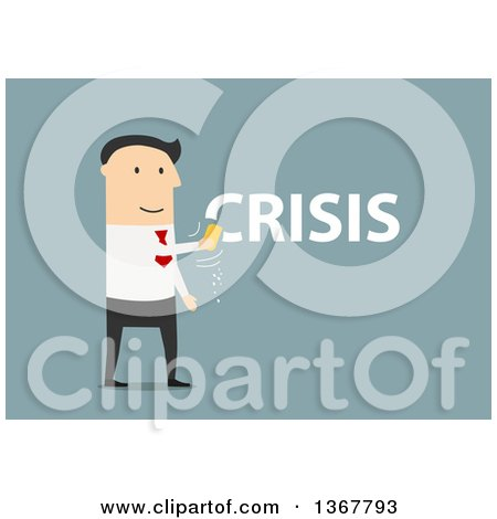 Clipart of a Flat Design White Business Man Erasing a Crisis, on.