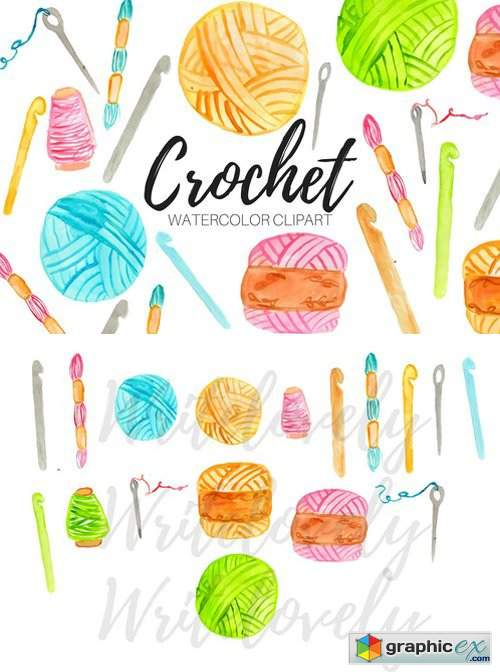 Watercolor Crochet Clipart » Free Download Vector Stock.