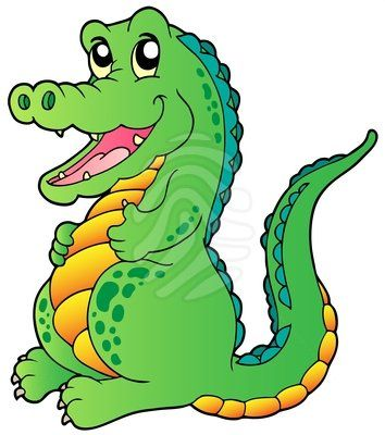 Cartoon standing crocodile.