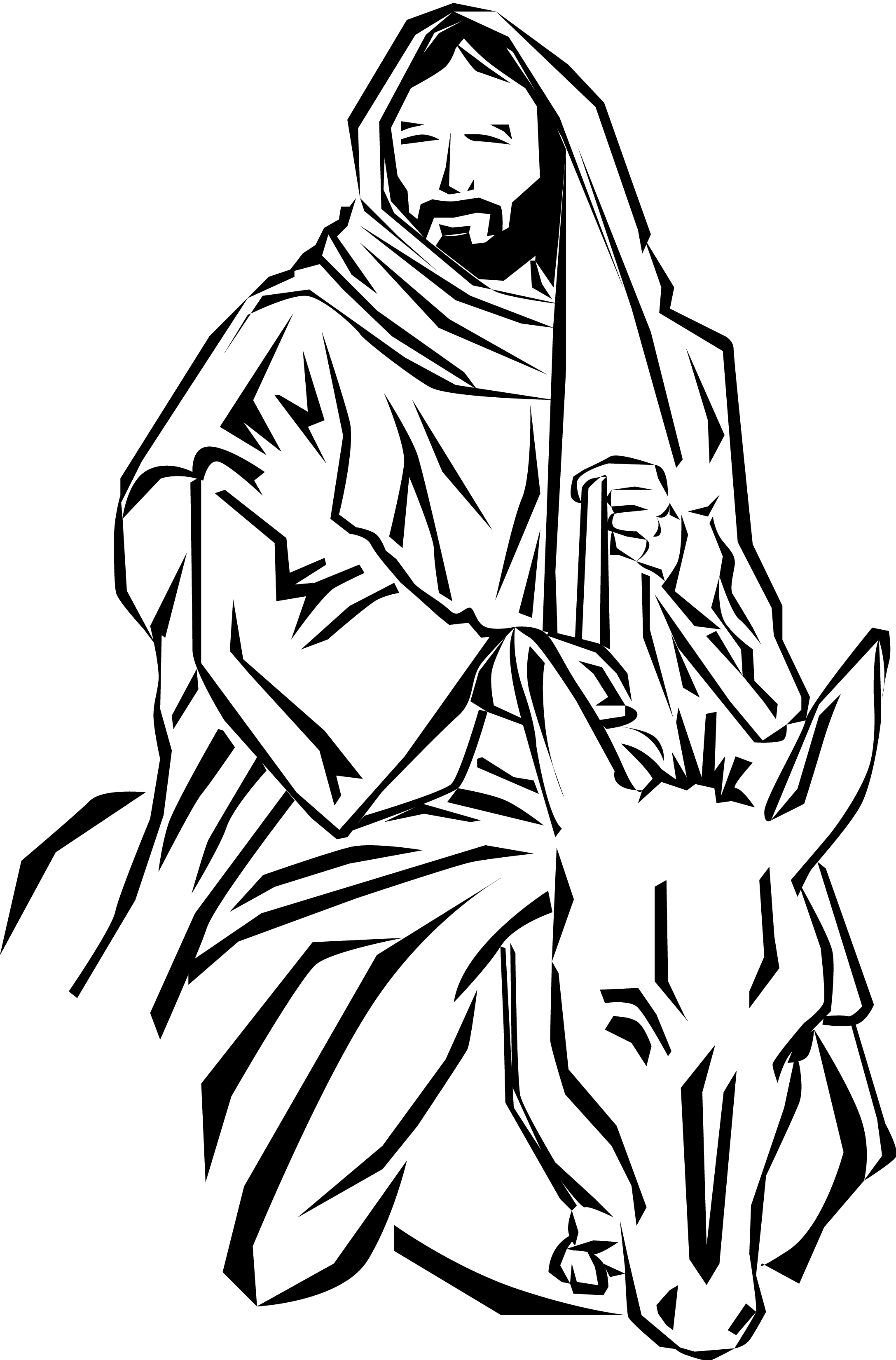 Jesus On Donkey Clip Art.