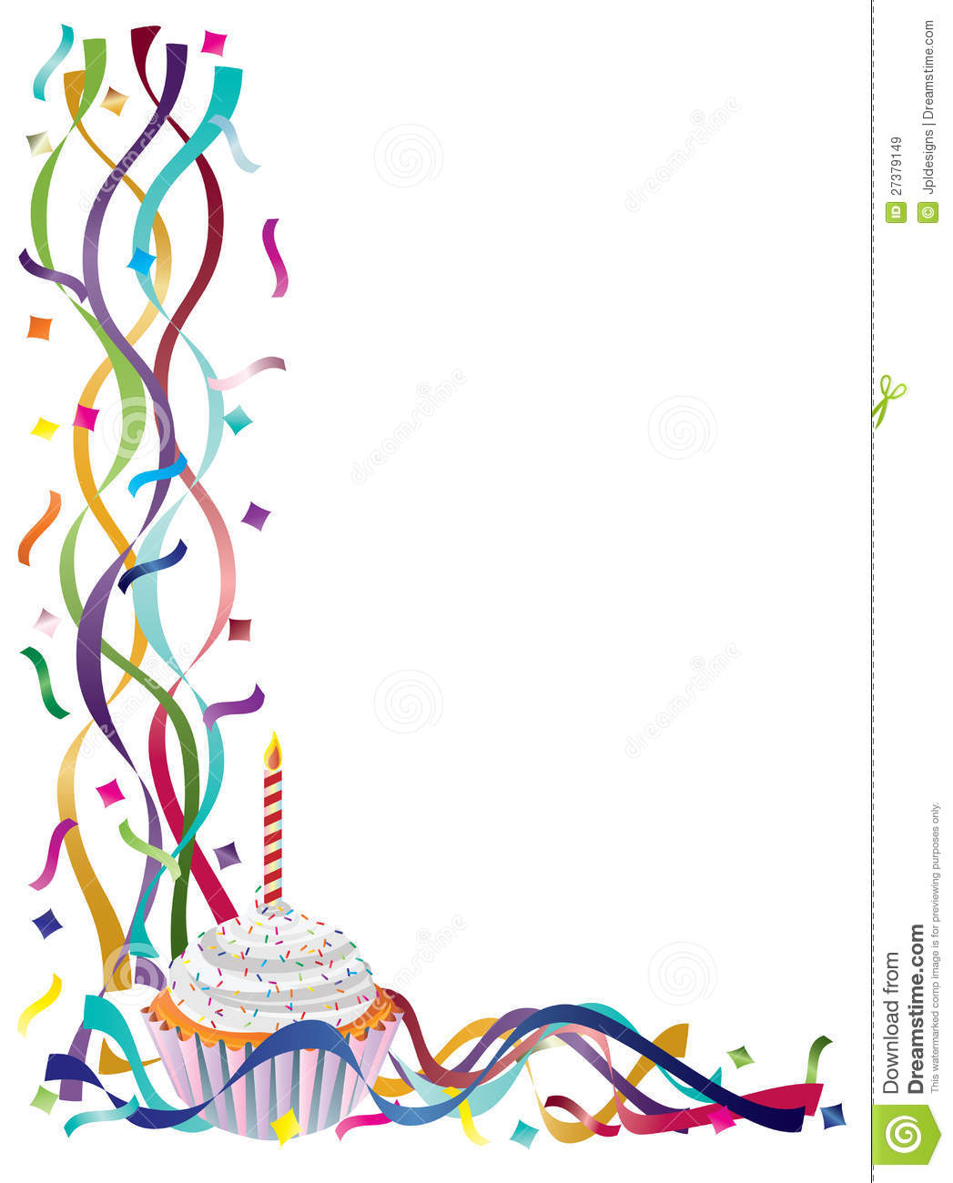 Birthday Border Clip Art Birthday Cupcake With Ribbons And.
