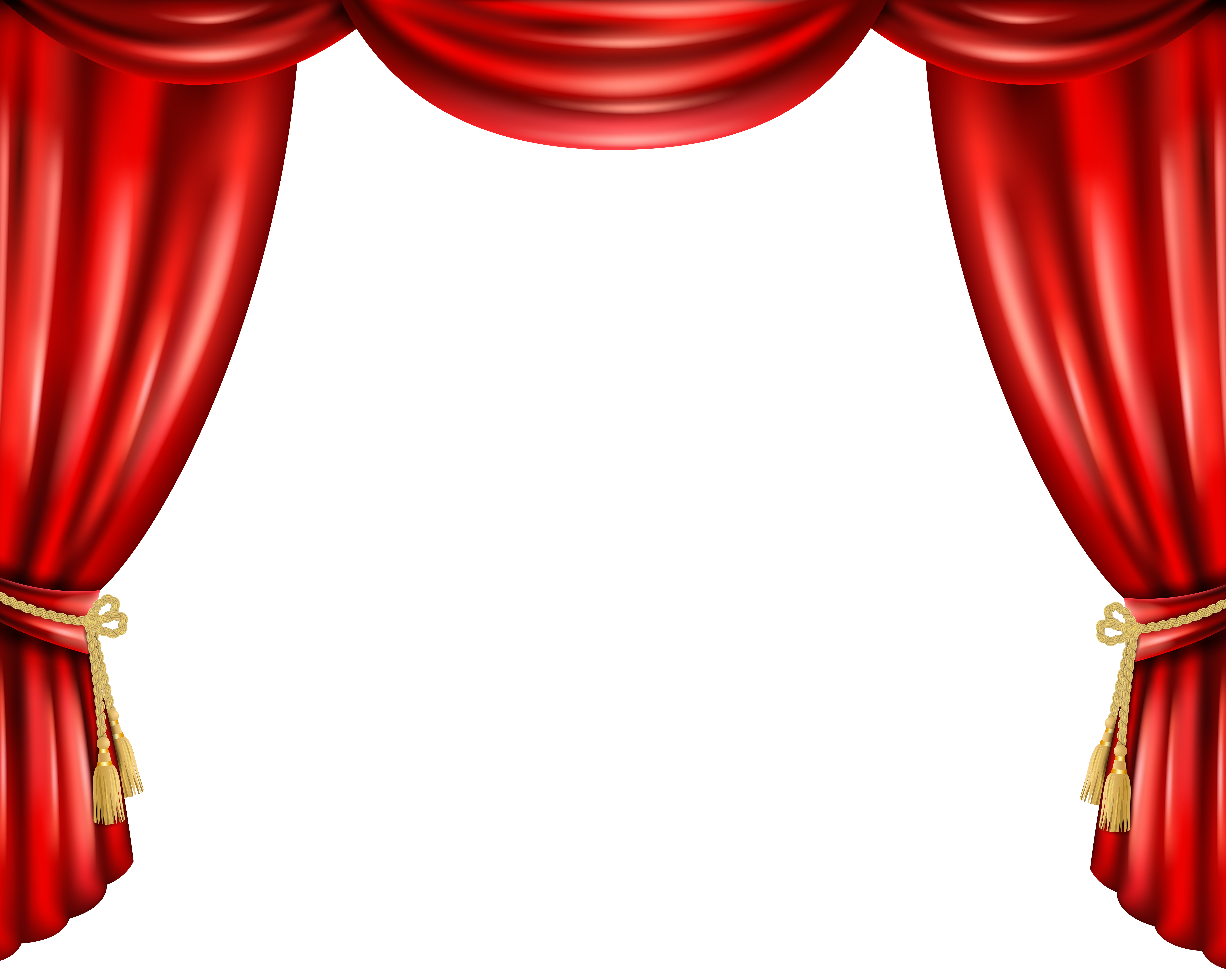 Red Curtain PNG Transparent Clip Art Image.