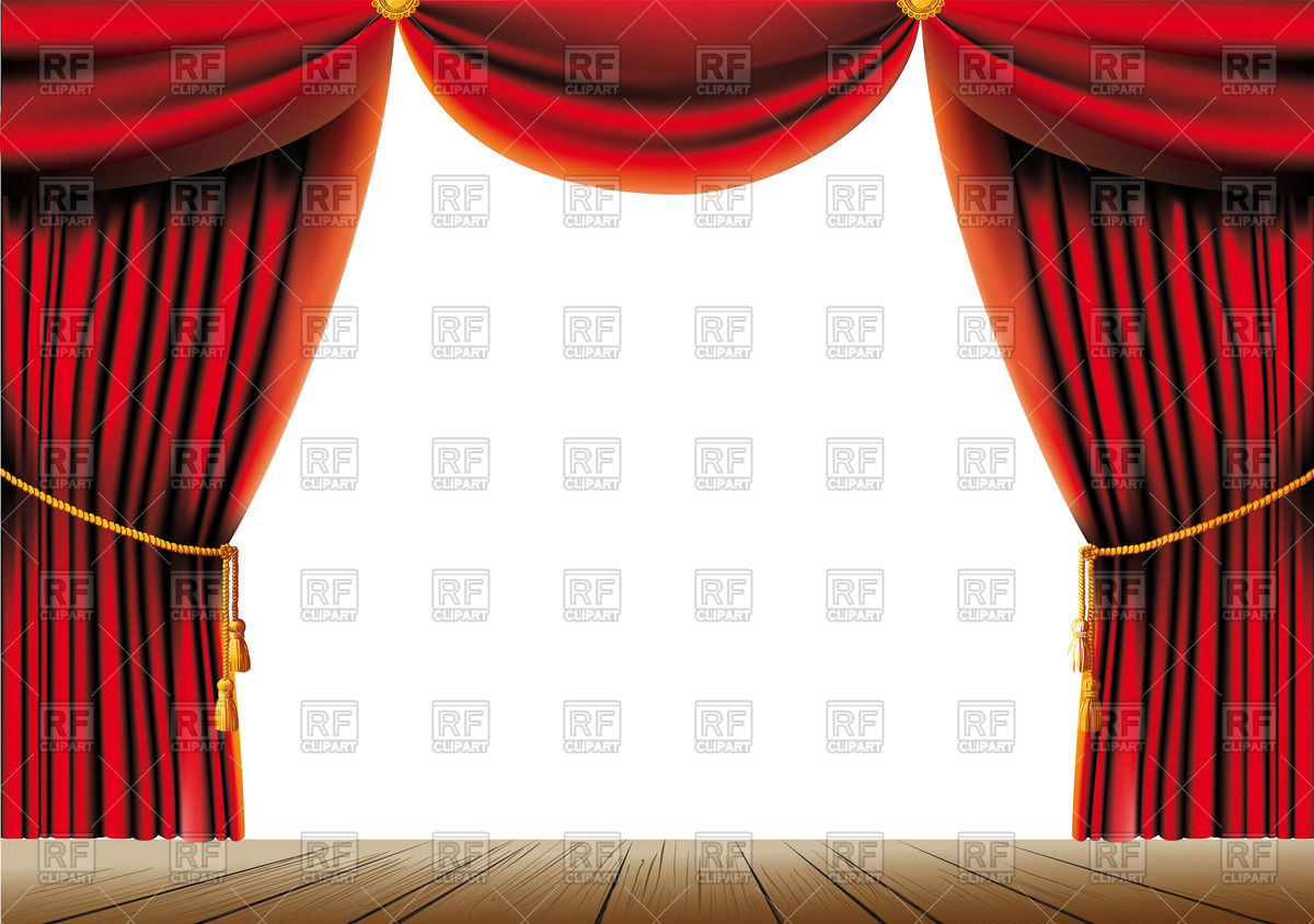 Red theater curtain with tassels and cord on a stage Stock Vector Image.