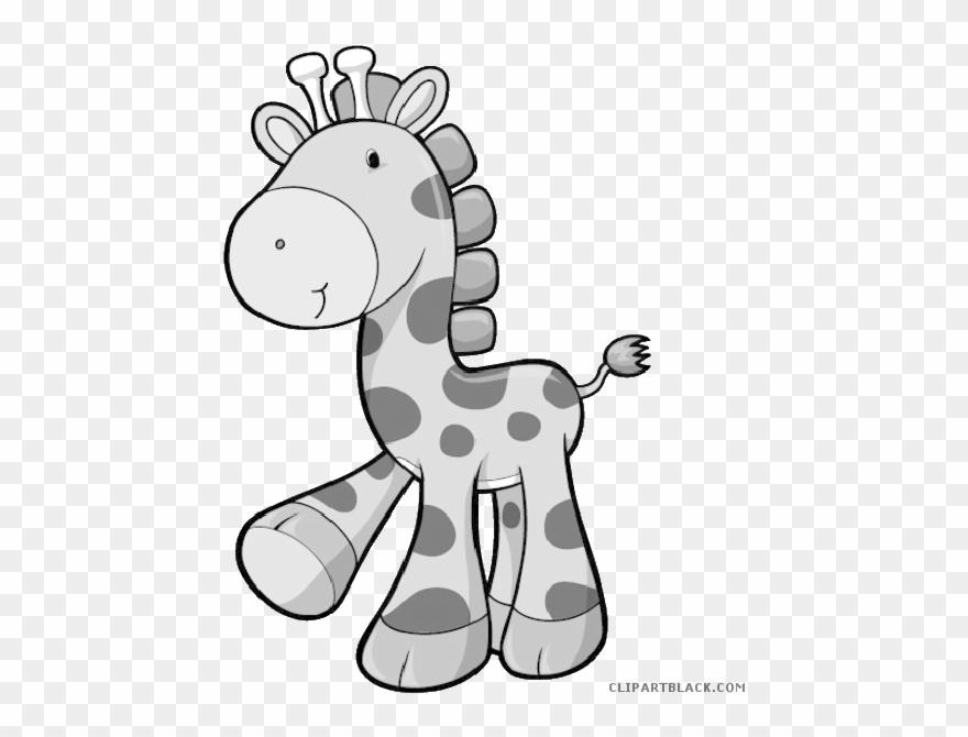Baby Giraffe Animal Free Black White Clipart Images.