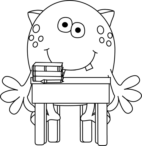 Free Black and White School Clipart Image.