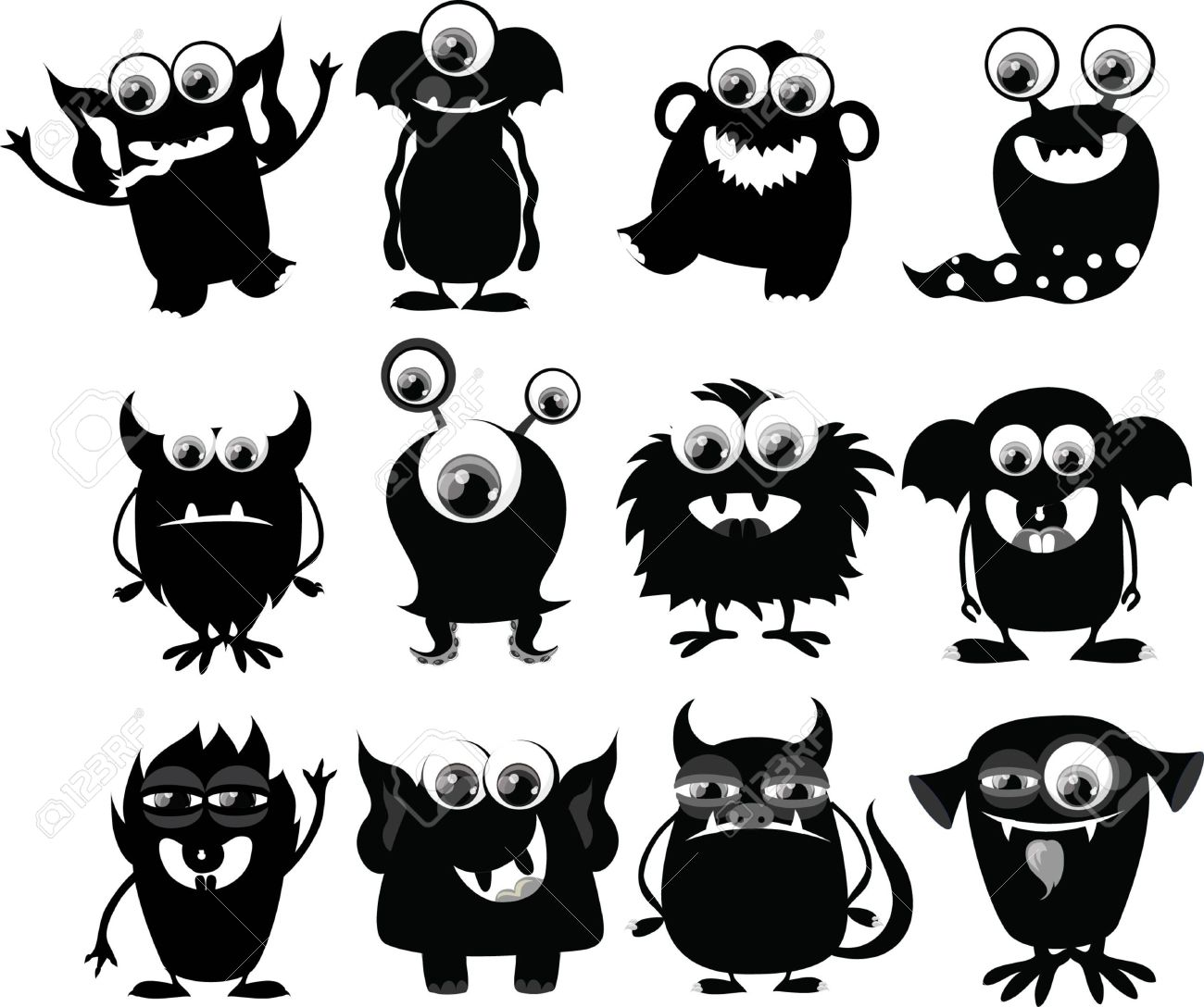 Cartoon Cute Black And White Monsters Royalty Free Cliparts.