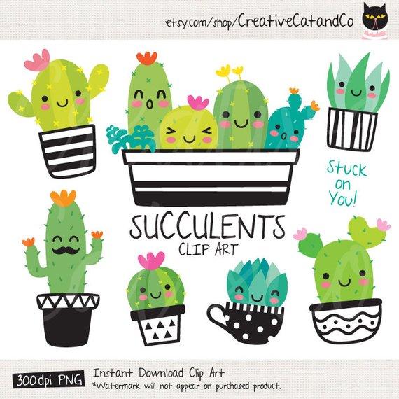 Succulent Clipart Cute Cactus Clipart Cacti Clip Art Cute Succulent.