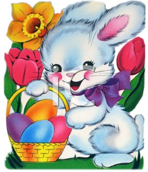 Cute Easter Bunny Holding a Basket of Eggs.