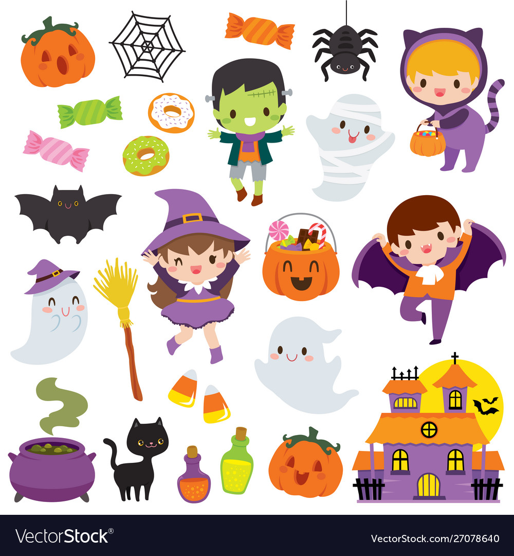 Kawaii cute halloween clipart set.