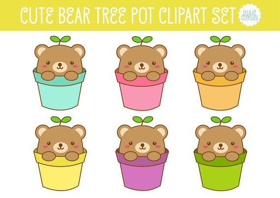 Cute Bear Tree Pot Clipart Set.