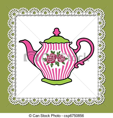 Victorian Graphic Cute Teapot, Tea Pot Free Clipart.