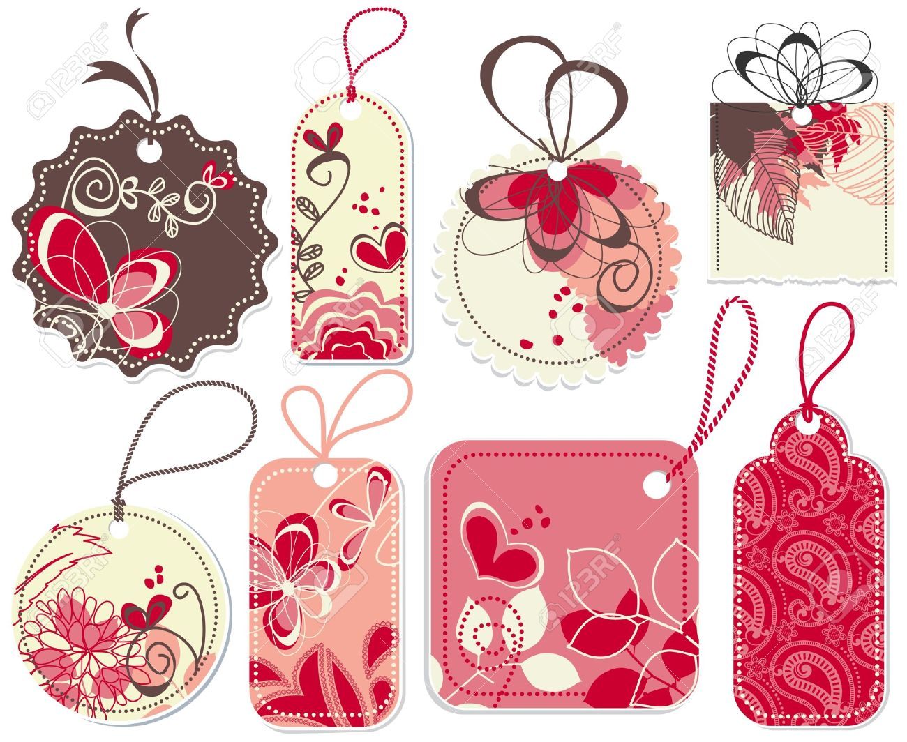 Cute Price Tags Collection, Flowers And Hearts Ornaments Royalty.