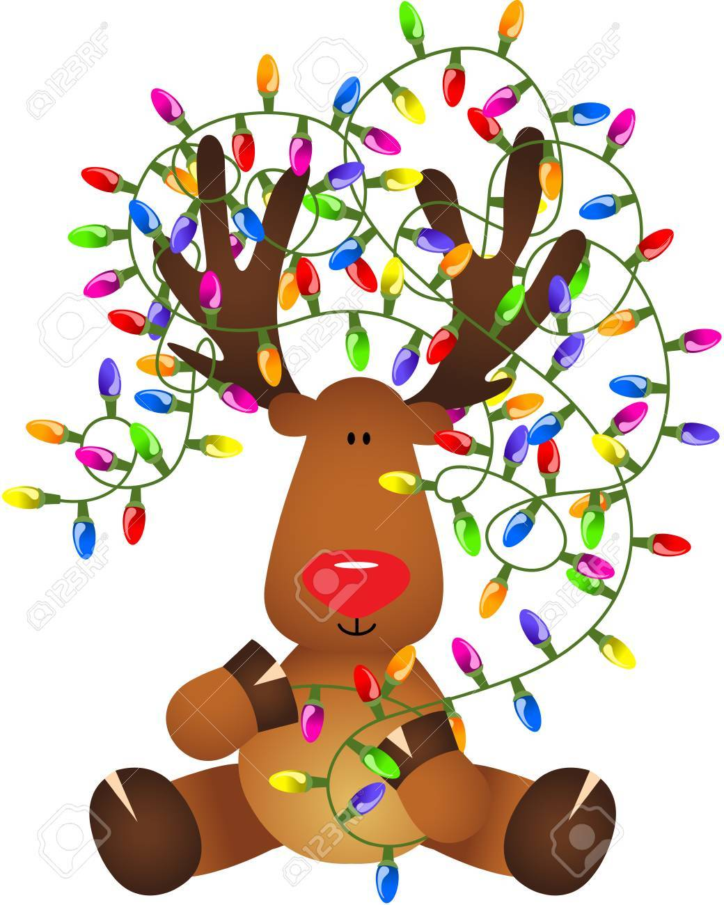 Cute reindeer with Christmas lights.