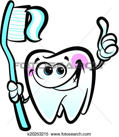 Clipart of Healthy cute cartoon tooth character making a thumb up.
