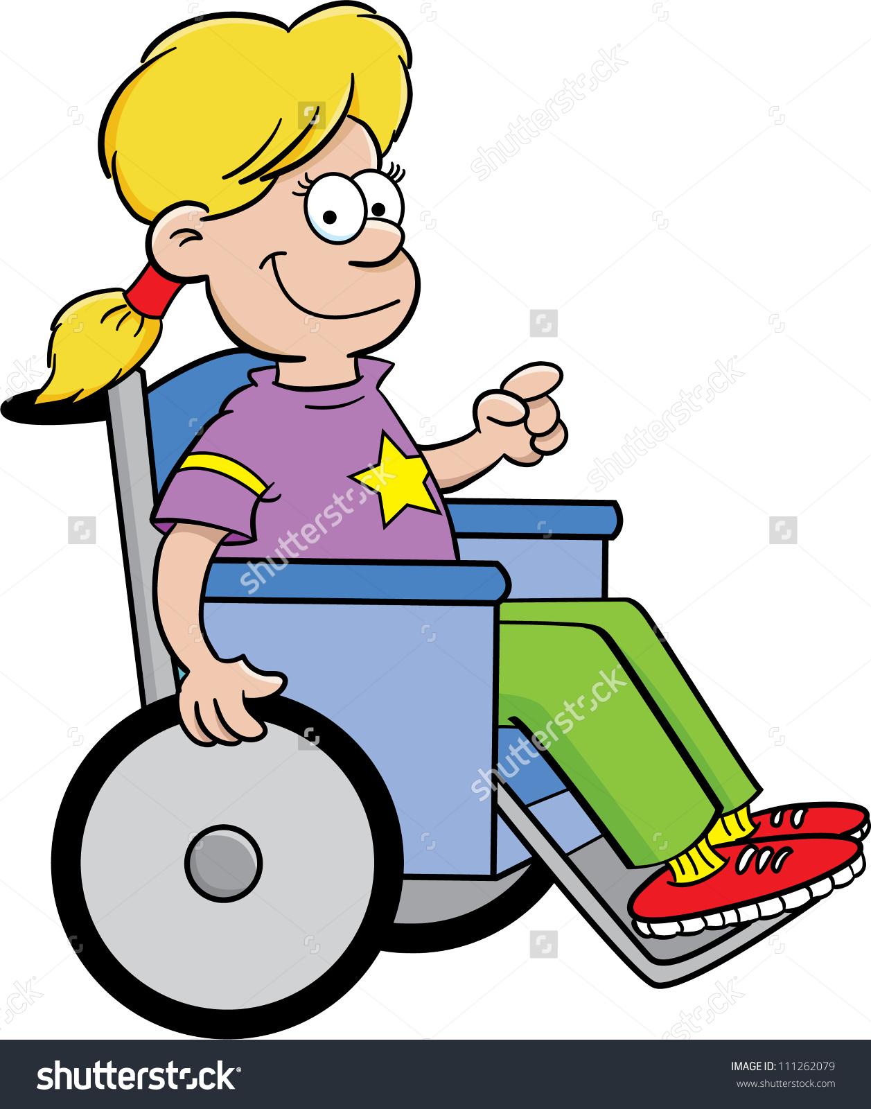 Cartoon Illustration Girl Wheelchair Stock Vector 111262079.