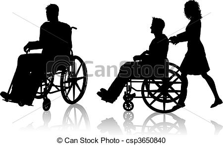 Diversity people with wheel chair clipart balck andbwhite.