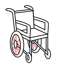 Drawing a cartoon wheelchair.