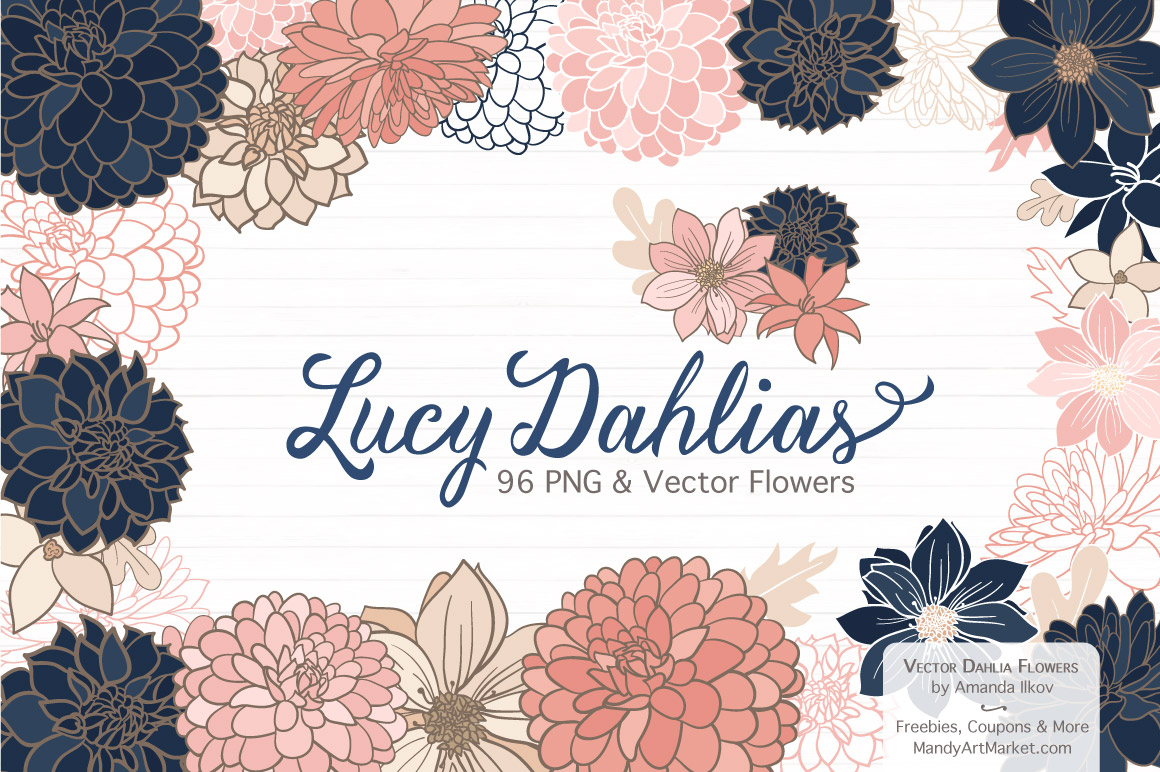 Free Dahlia Clipart in Navy & Blush.