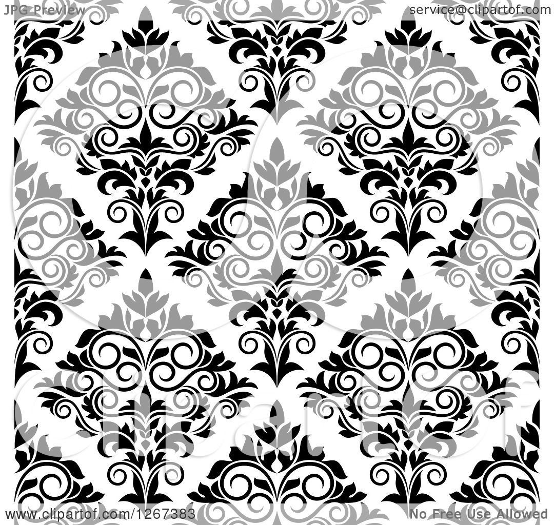 Clipart of a Seamless Pattern Background of Vintage Black and White.
