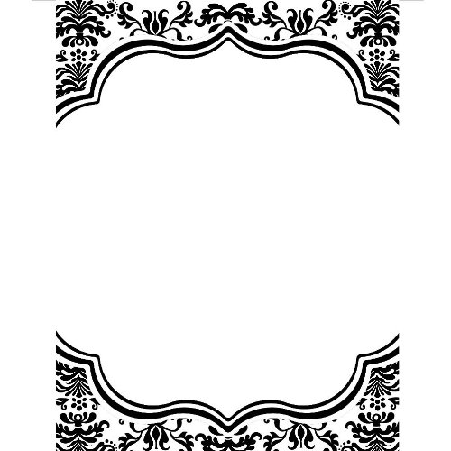 Black and white damask clipart border.