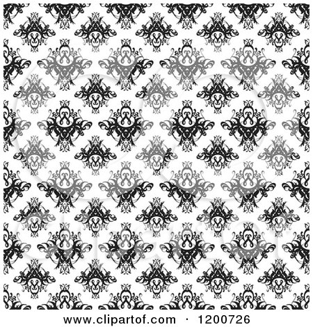 Clipart of a Black and White Seamless Damask Pattern.