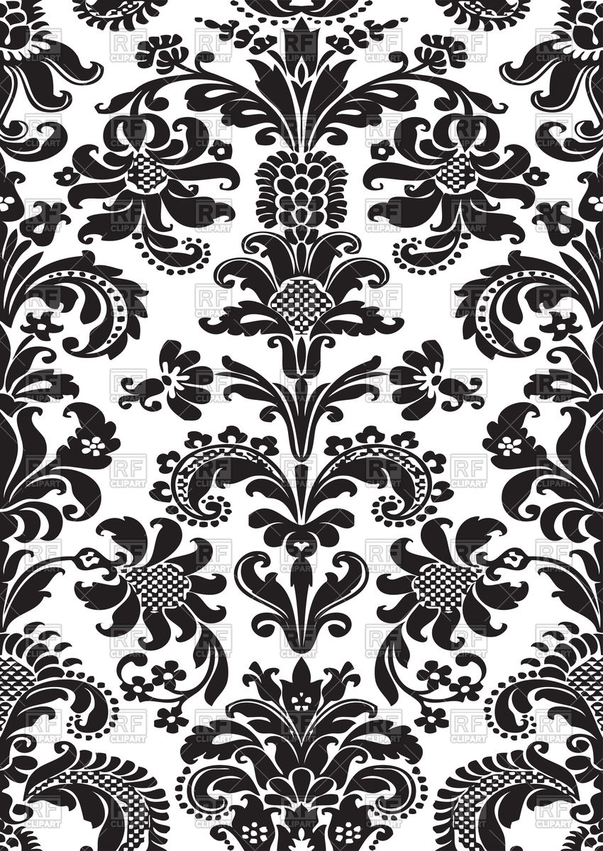 Foliage tile oriental floral damask pattern Stock Vector Image.