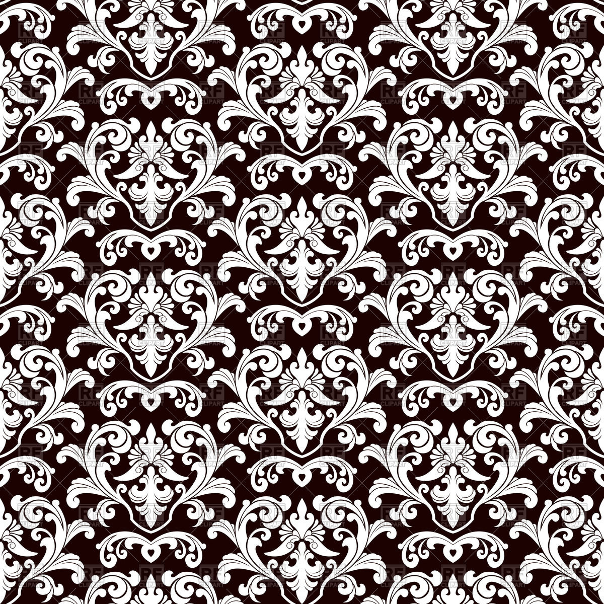 Seamless black damask pattern Stock Vector Image.