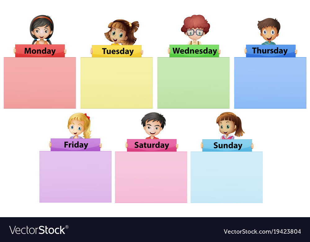 Happy children and seven days of the week.