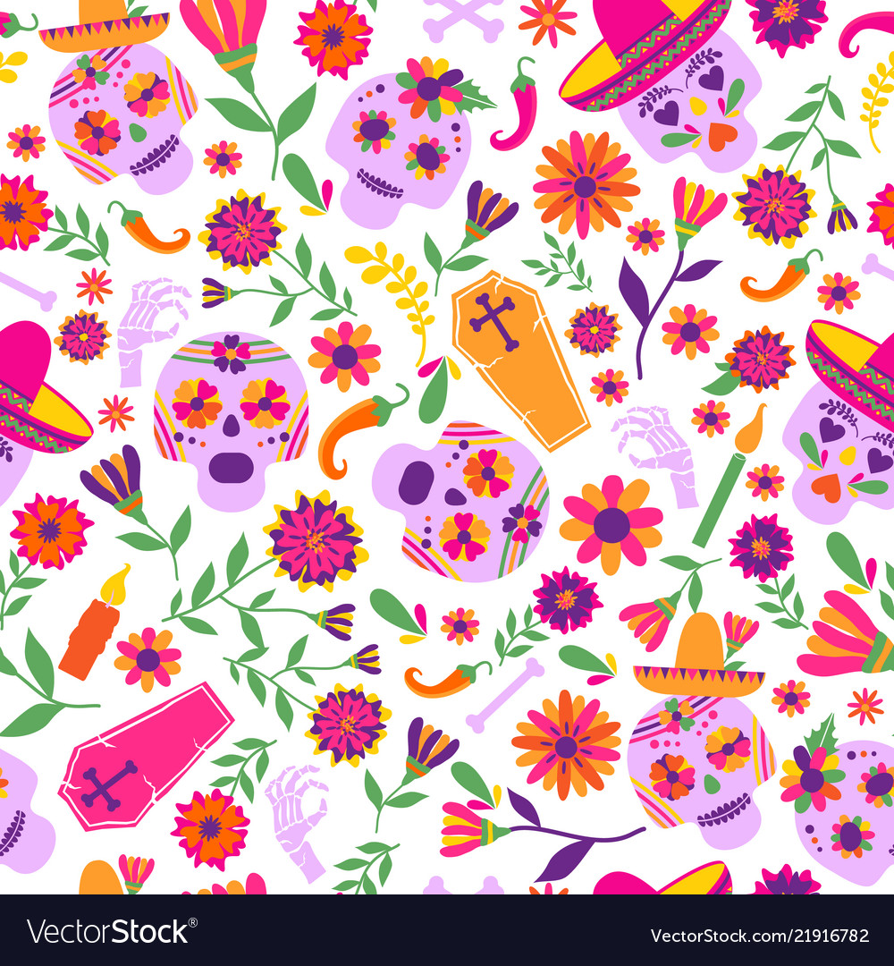 Dia de los muertos seamless pattern the vector image on VectorStock.