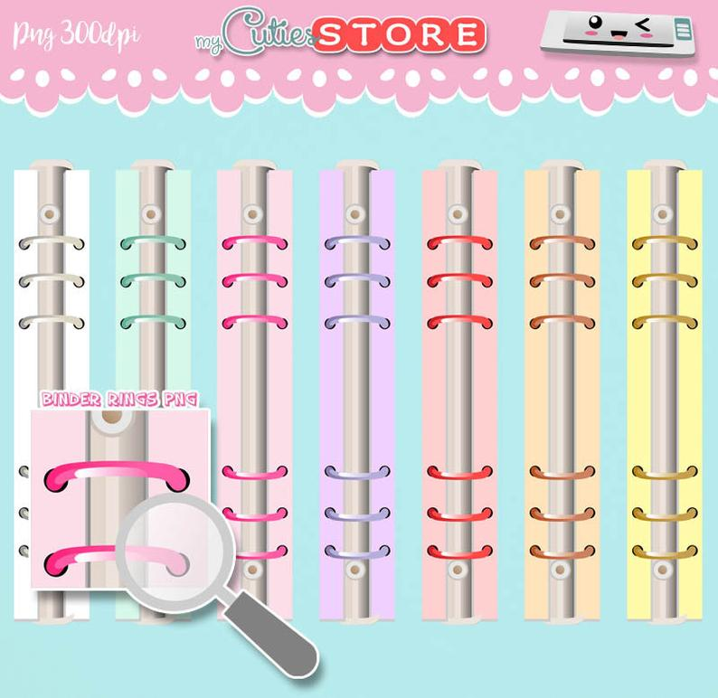 Collection binder rings clipart. Rounded 6 rings binder great for digital  planning, easy to import with goodnotes, IOS..