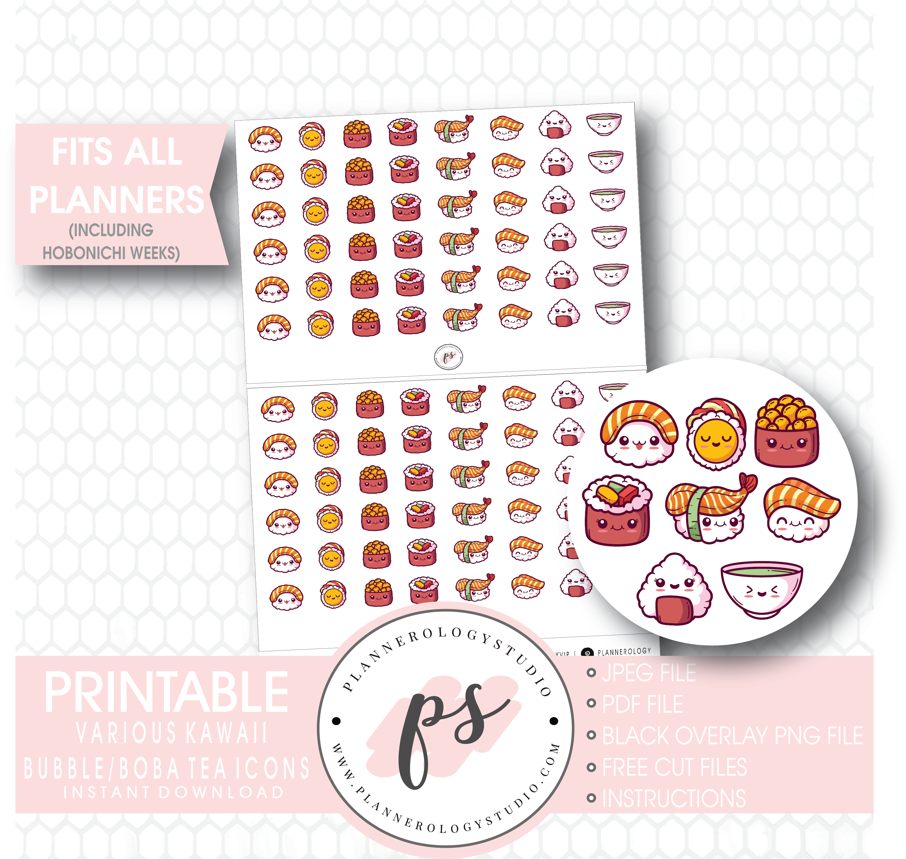 Cute Kawaii Sushi Icons Digital Printable Planner Stickers.