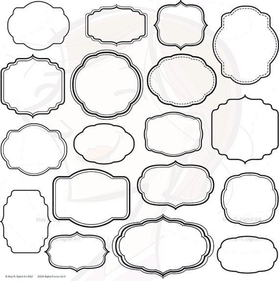 Digital Scrapbook Frames Clip Art Decorative Shapes Clipart Office.