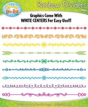 FREE Rainbow Doodle Page Divider Clipart {Zip.