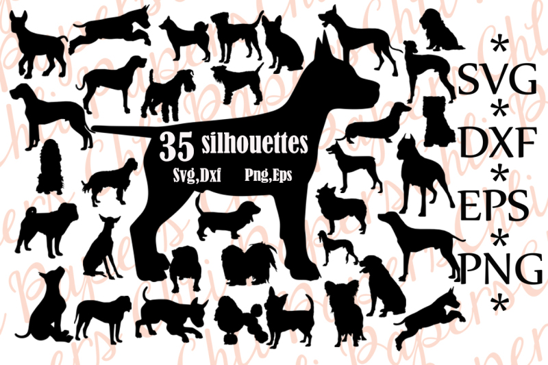 Free Dog Silhouette Svg: ,DOG CLIPART, Dog cut file,Dogs.