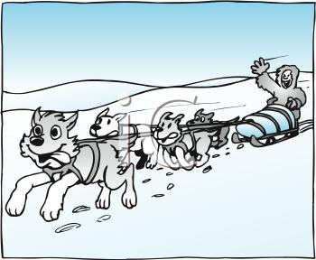 Sled dog clipart.
