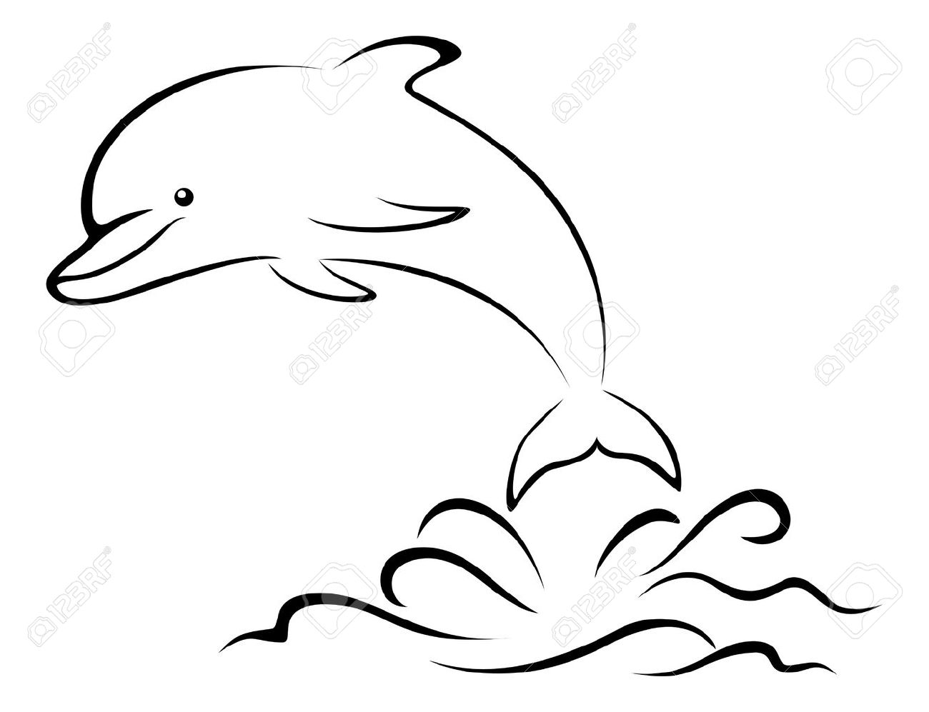 Cartoon Dolphin Jumping Over the Sea Waves, Black Contours Pictogram...