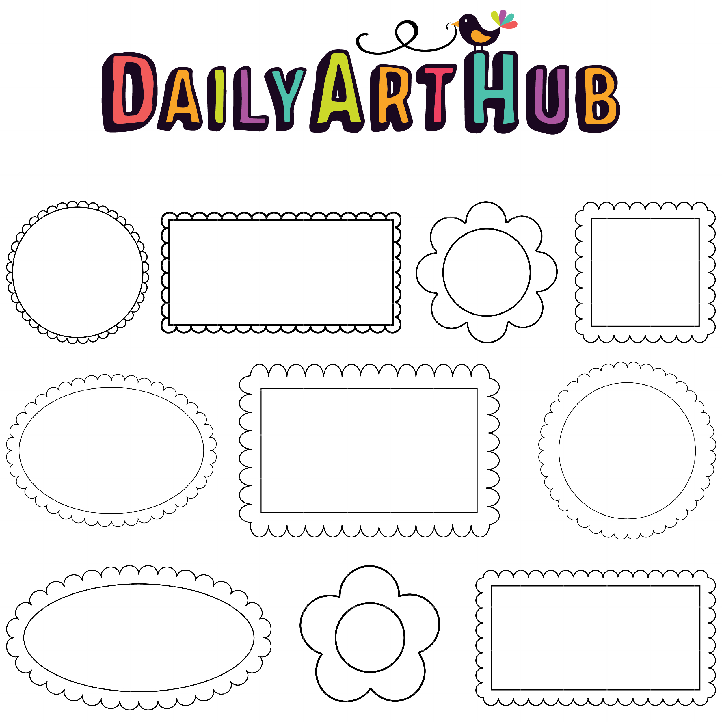 Doodle Frames Clip Art Set.