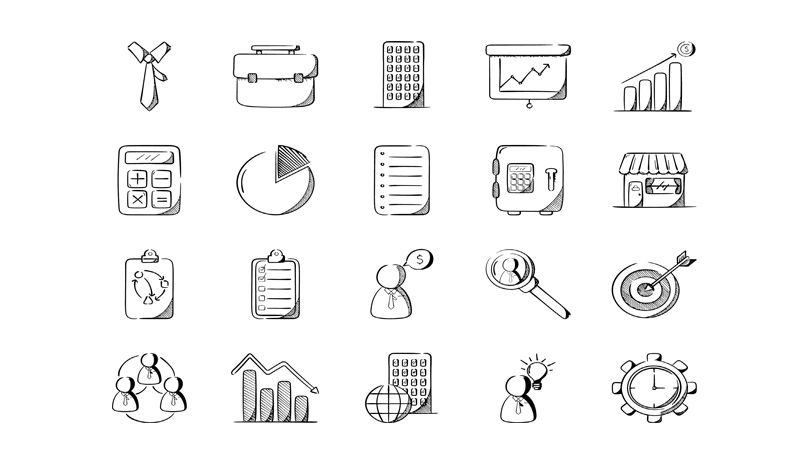 Free Doodle Office Icons.