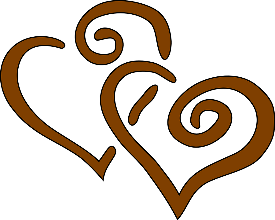 Free vector graphic: Hearts, Brown, Together, Wedding.