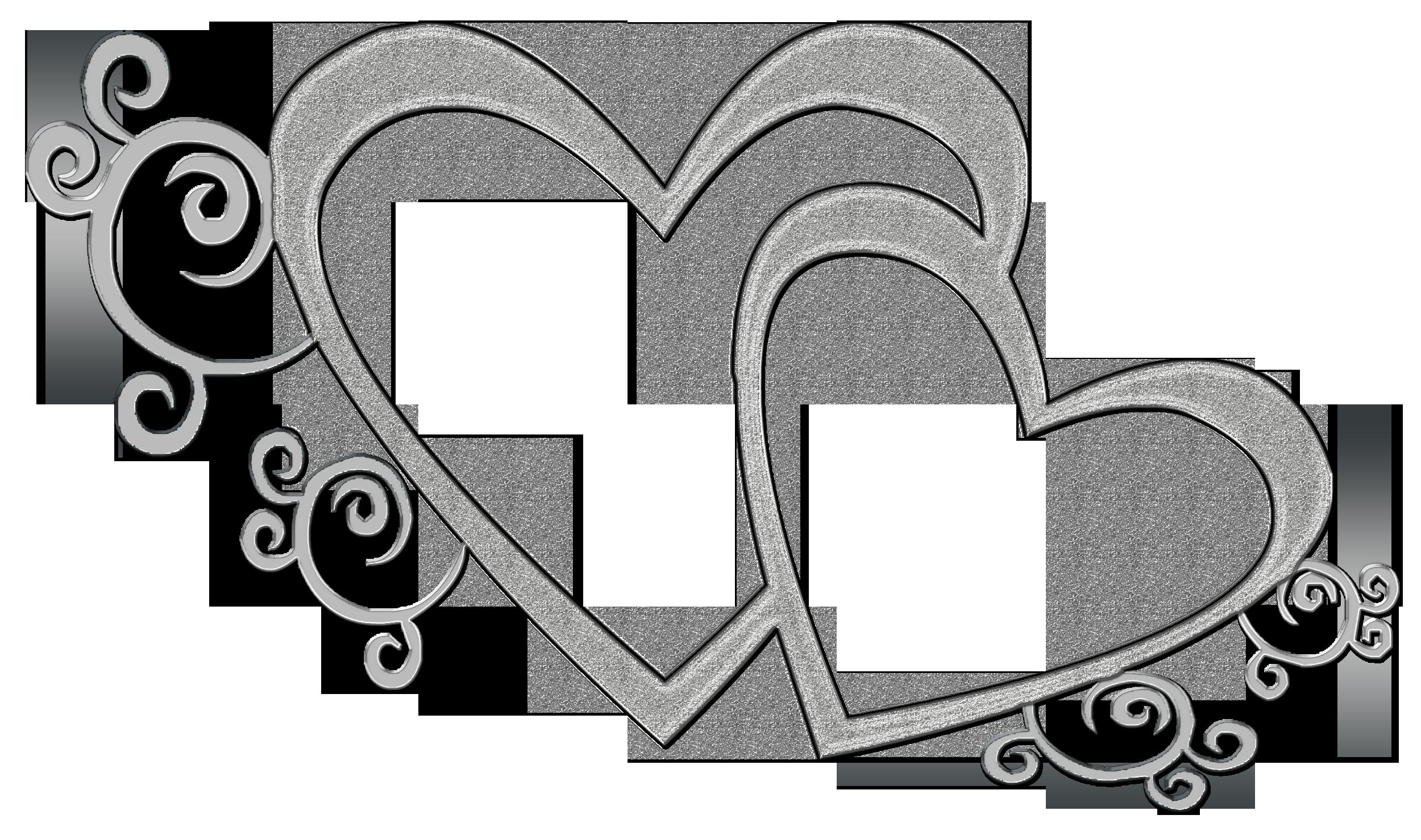 Double Heart Wedding Clipart.