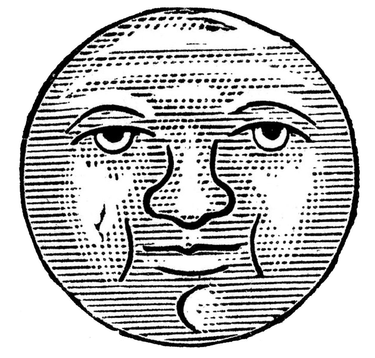 Man In The Moon Clipart Black And White.