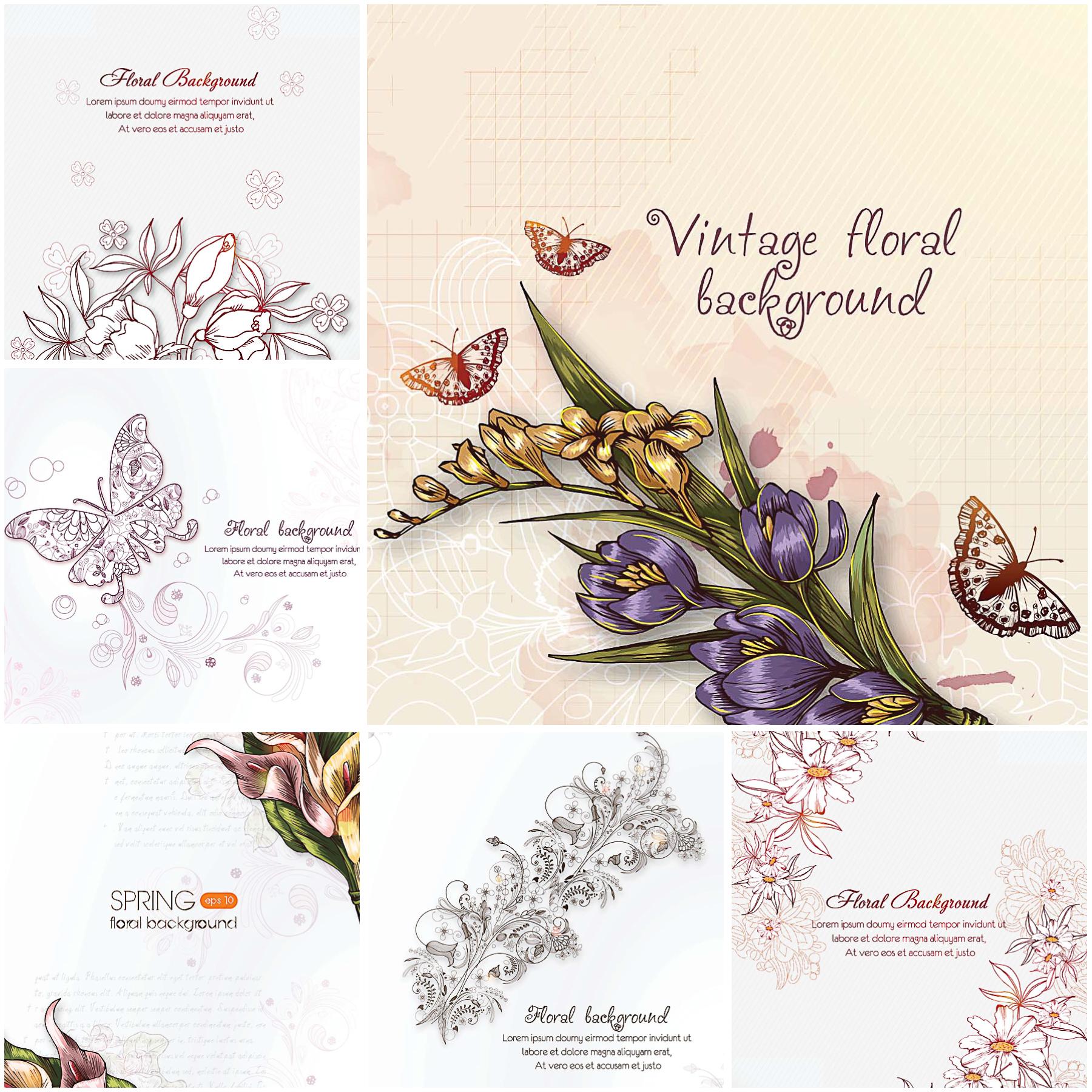 Vintage floral background set.
