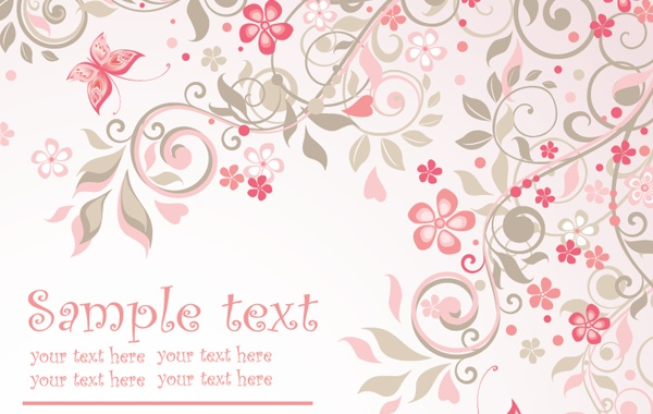 Pink Floral Background Vector Vector.