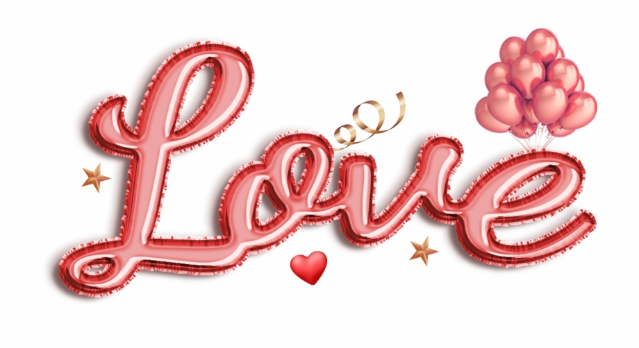 Love Text Balloon Png Image.