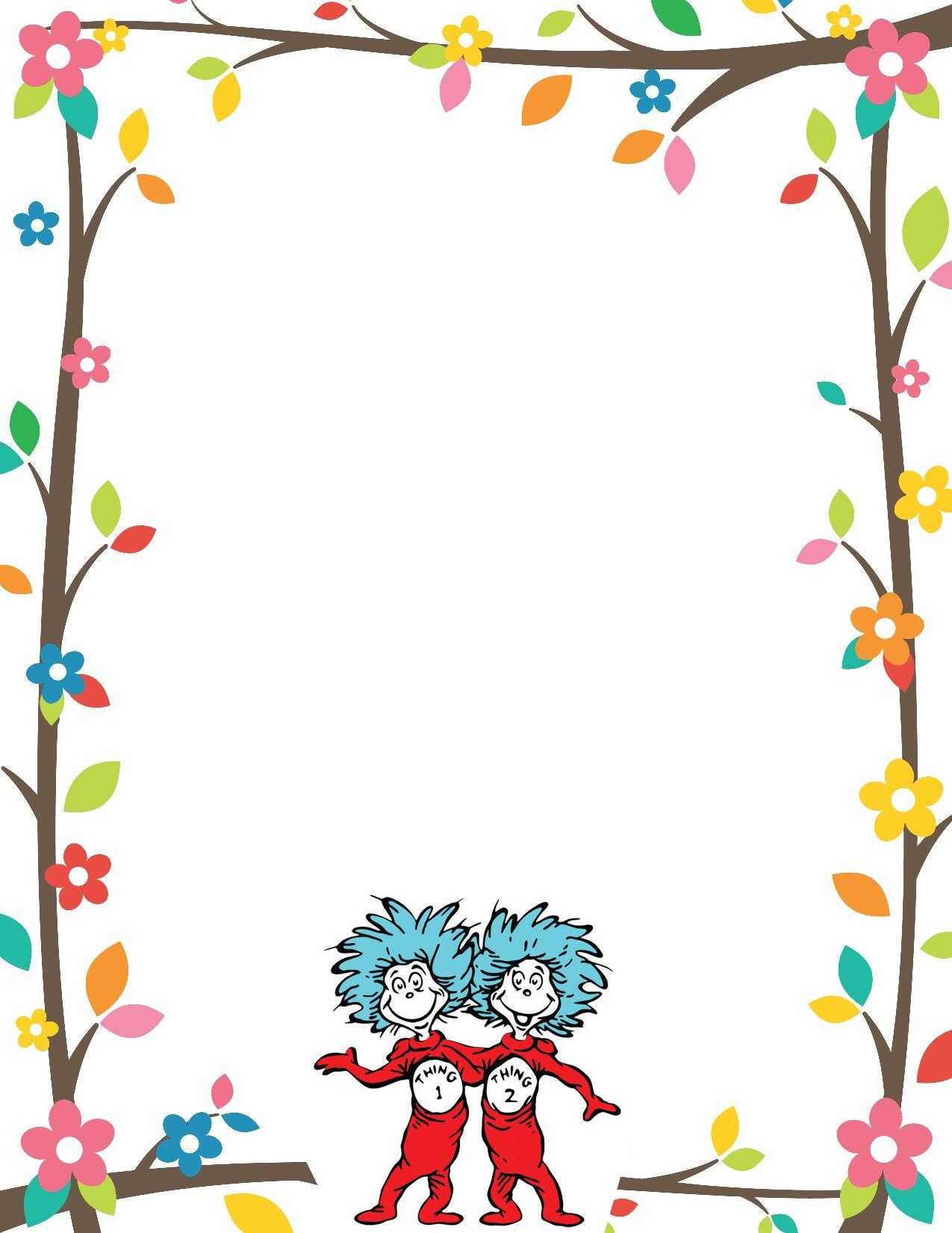 Dr Seuss Border Invitation Free Print.